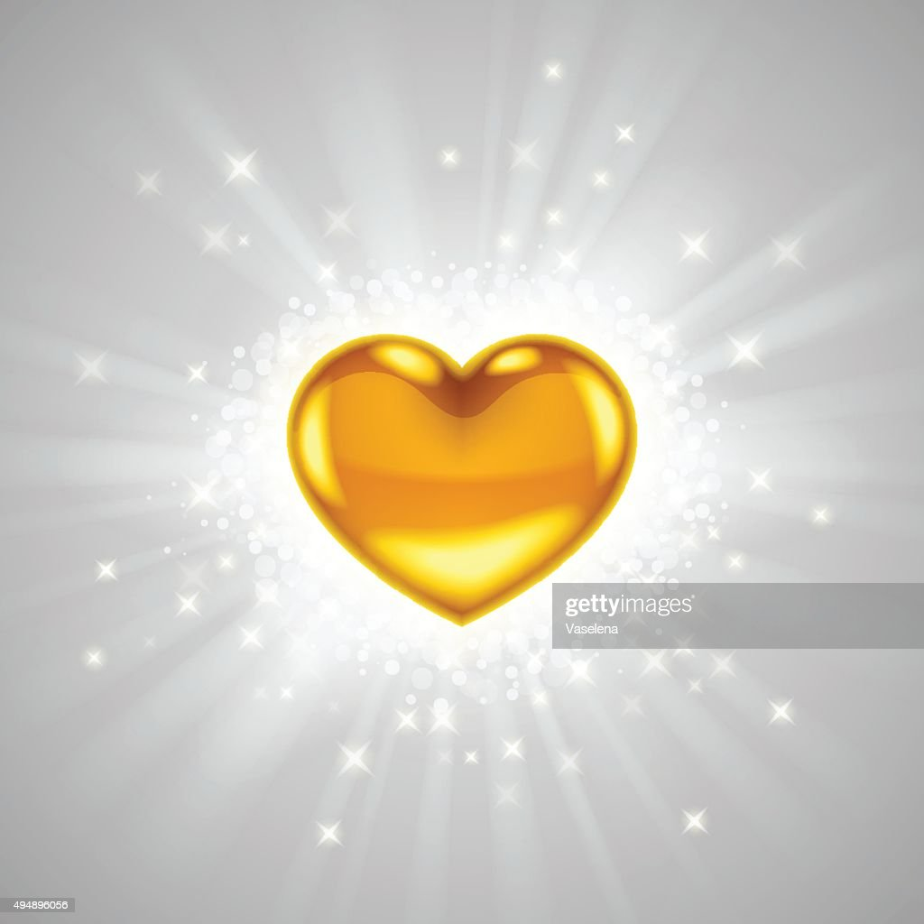 Gold heart with bright radiance