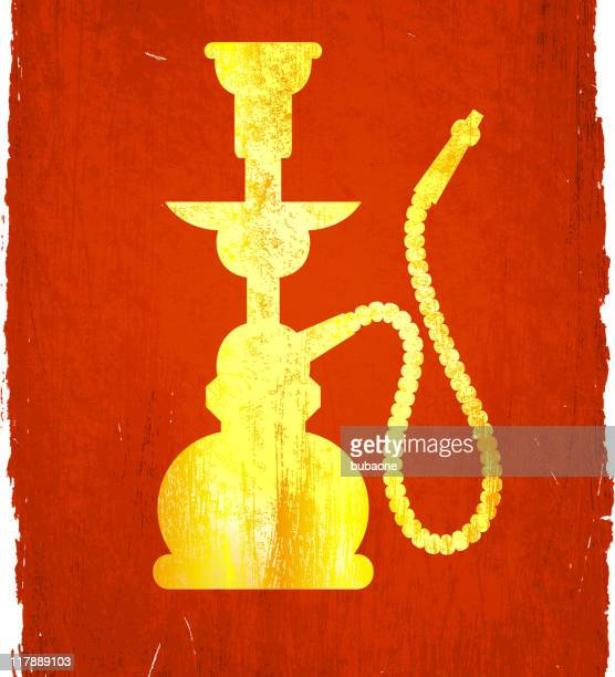 gold hookah illustration on a red background. - hookah stock illustrations, clip art, cartoons, & icons