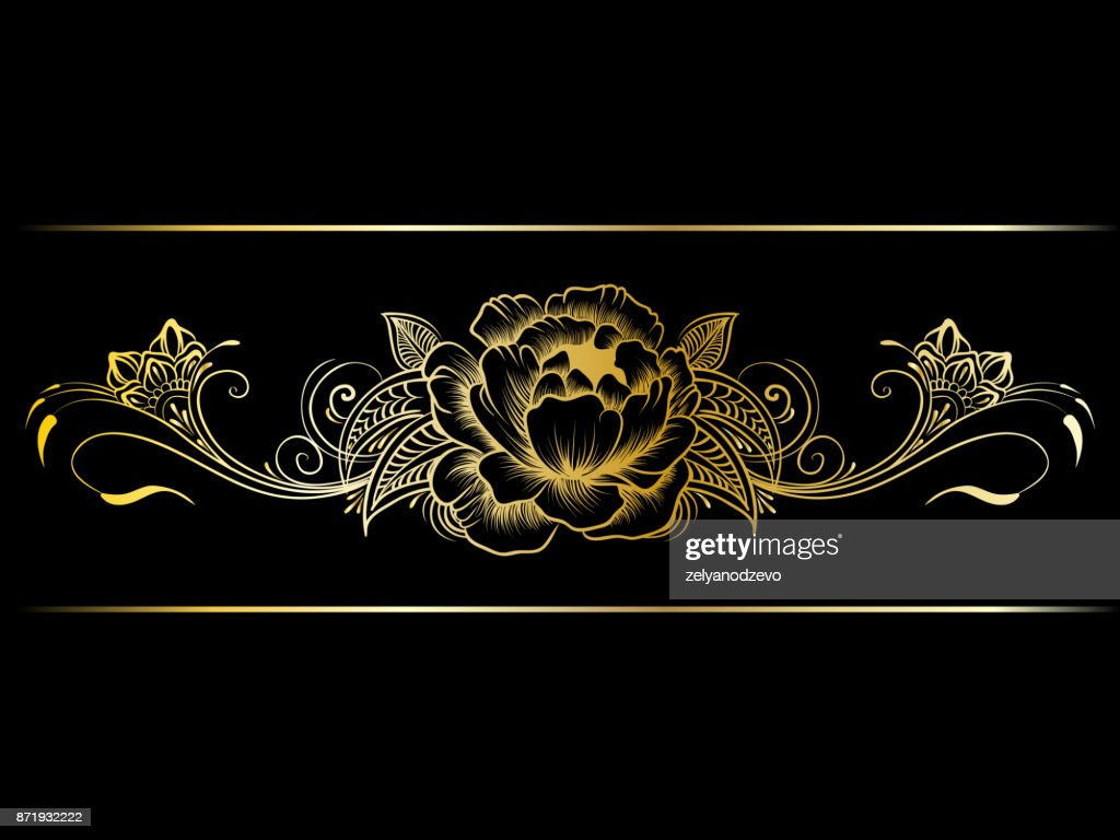Gold indian line art border in mehendi ethnic style on a black background
