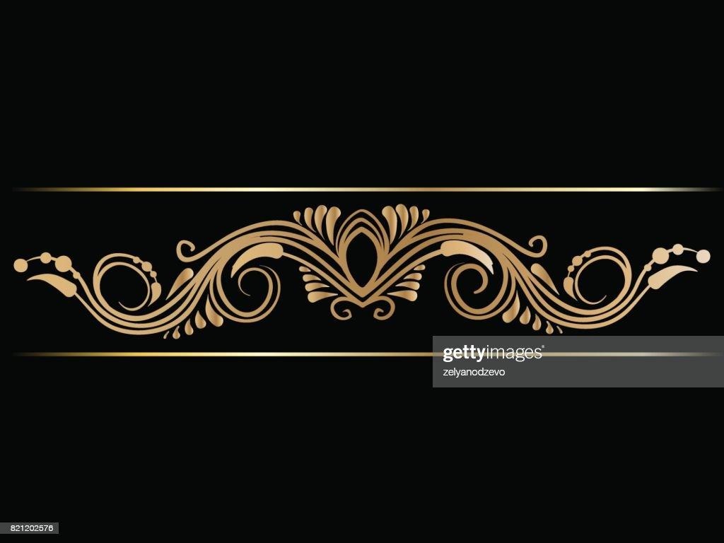 Gold indian line art border