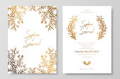 Gold invitation with floral branches. Gold cards templates for save the date, wedding invites, greeting cards, postcards.