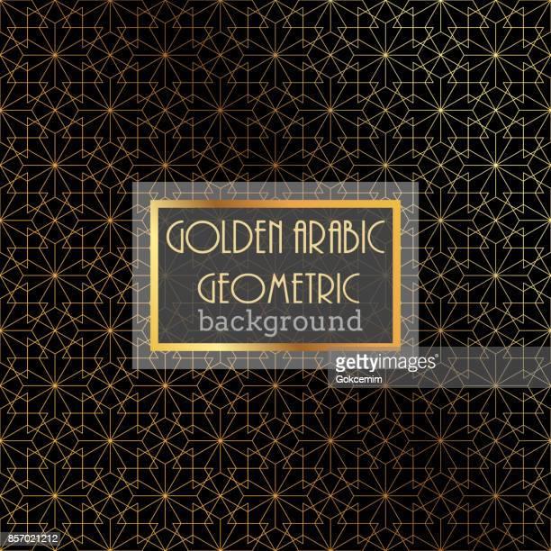gold islamic pattern on black background - arabesque stock illustrations