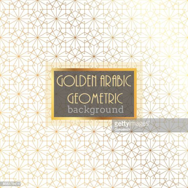 Gold Islamic Pattern on White Background