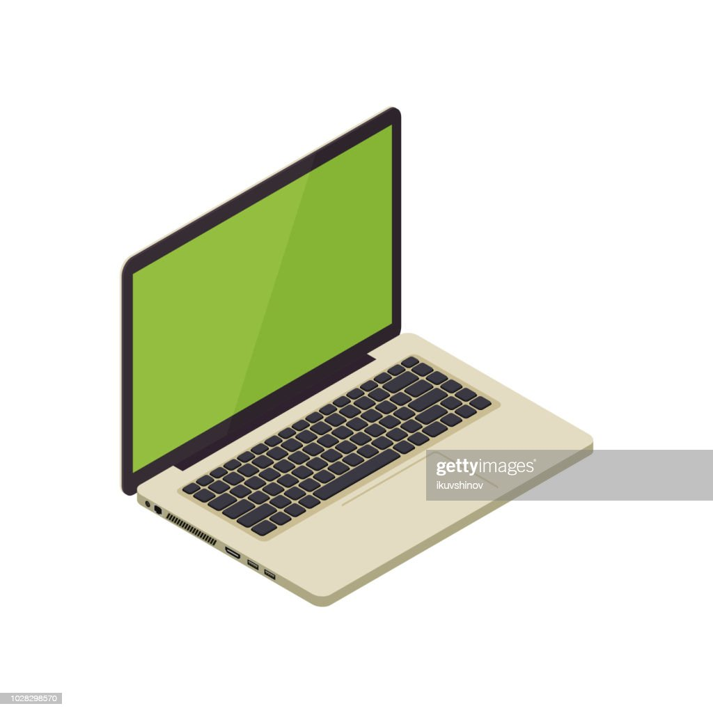 Gold isometric vector notebook laptop - vector illustration