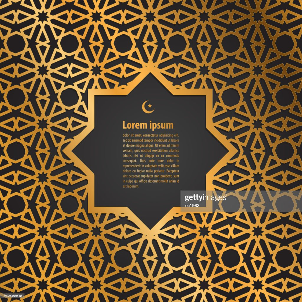gold label ramadan kareem greeting card