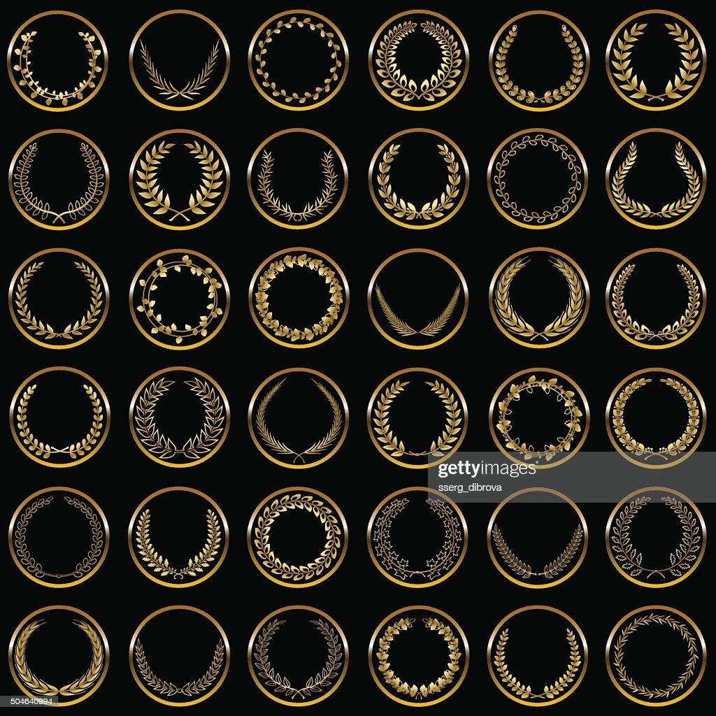 Gold laurel wreaths