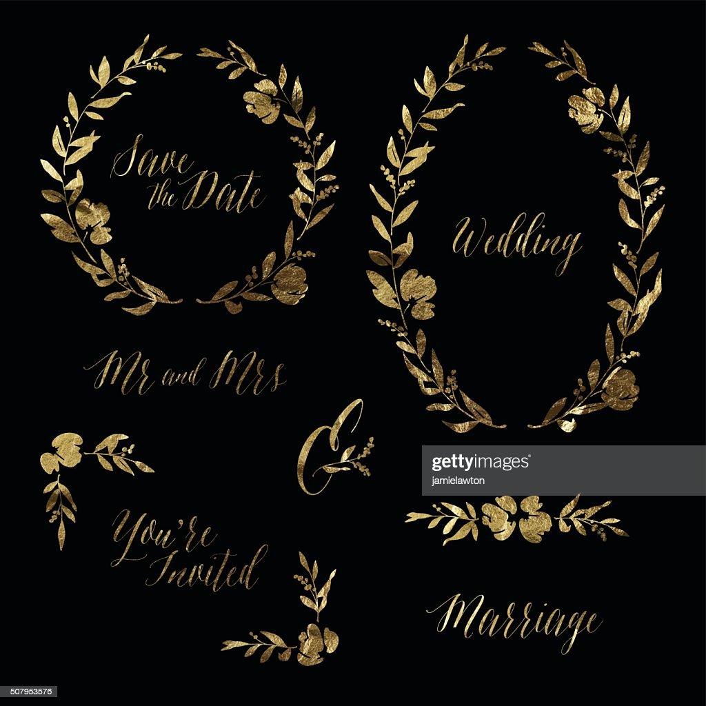 Gold Leaf Wedding Invitation Design Elements