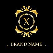 Gold Letter X with Crown. Graceful Royal Style. Calligraphic Beautiful Logo. Vintage Drawn Emblem for Book Design, Brand Name, Business Card, Restaurant, Boutique, Crest, Hotel. Vector illustration