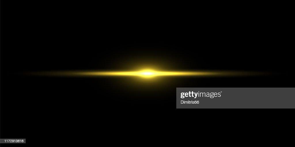 Feixe de luz do ouro no fundo preto : Ilustração