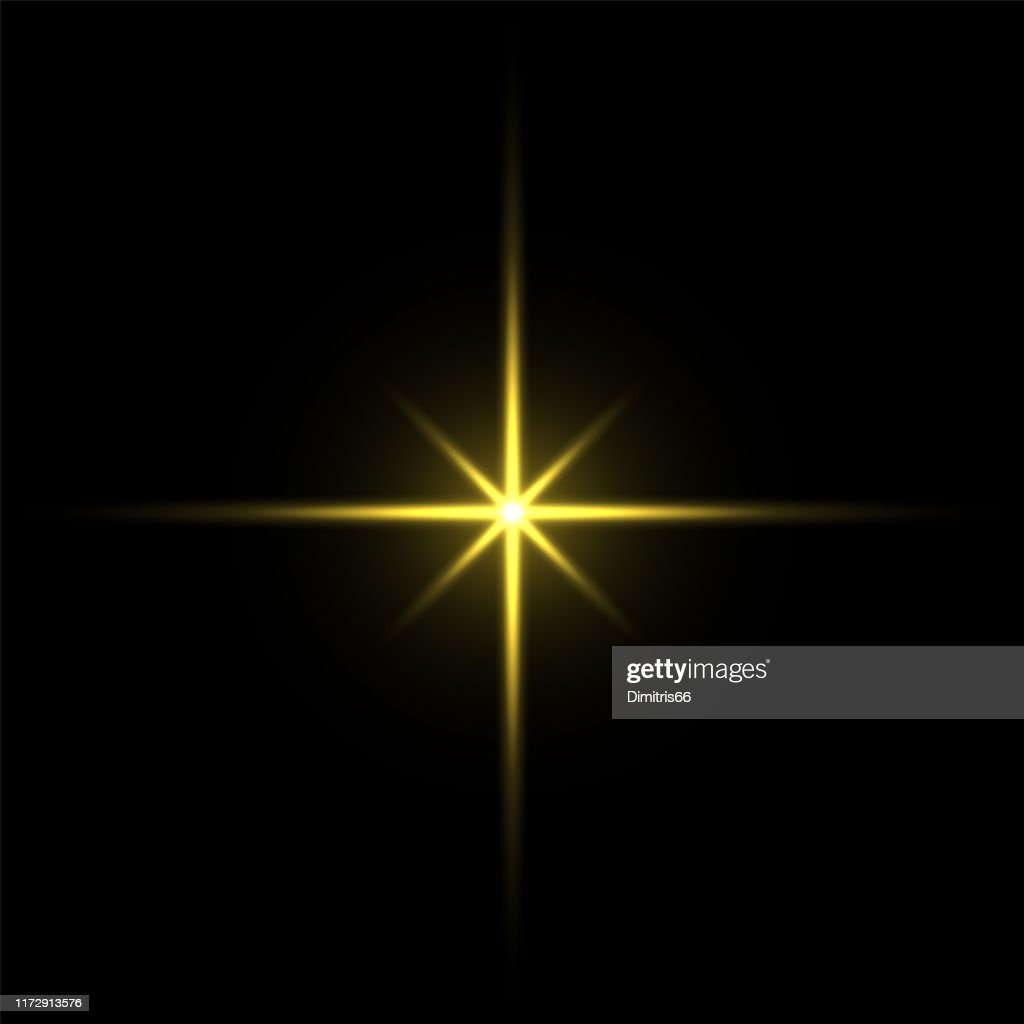 Gold light star on black background : Stock Illustration