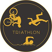 Gold logo triathlon. Gold figures triathletes.