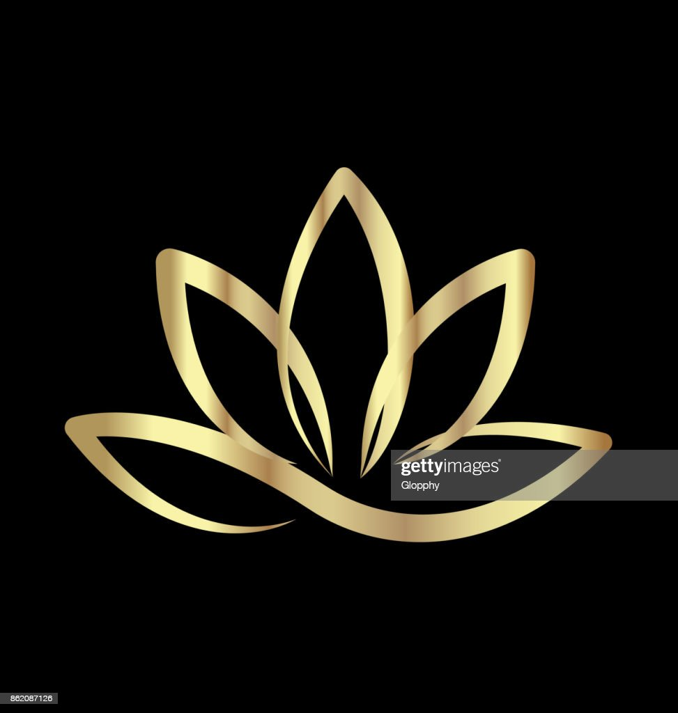 Gold lotus flower icon