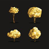 Gold low poly tree triangle set polygon origami