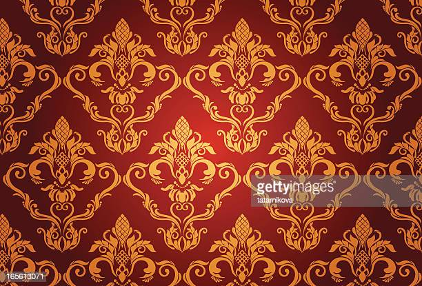 gold luxury floral pattern - brocade stock illustrations