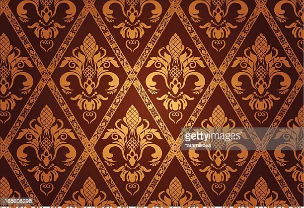 gold luxury pattern - brocade stock illustrations
