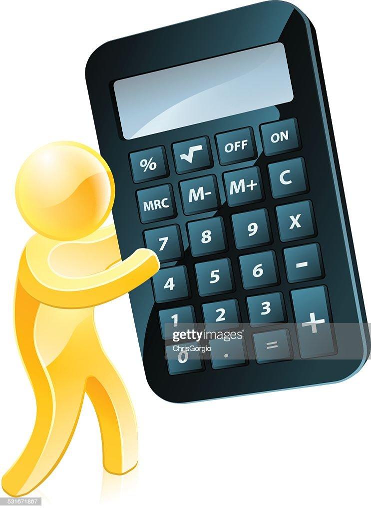 Gold man holding calculator