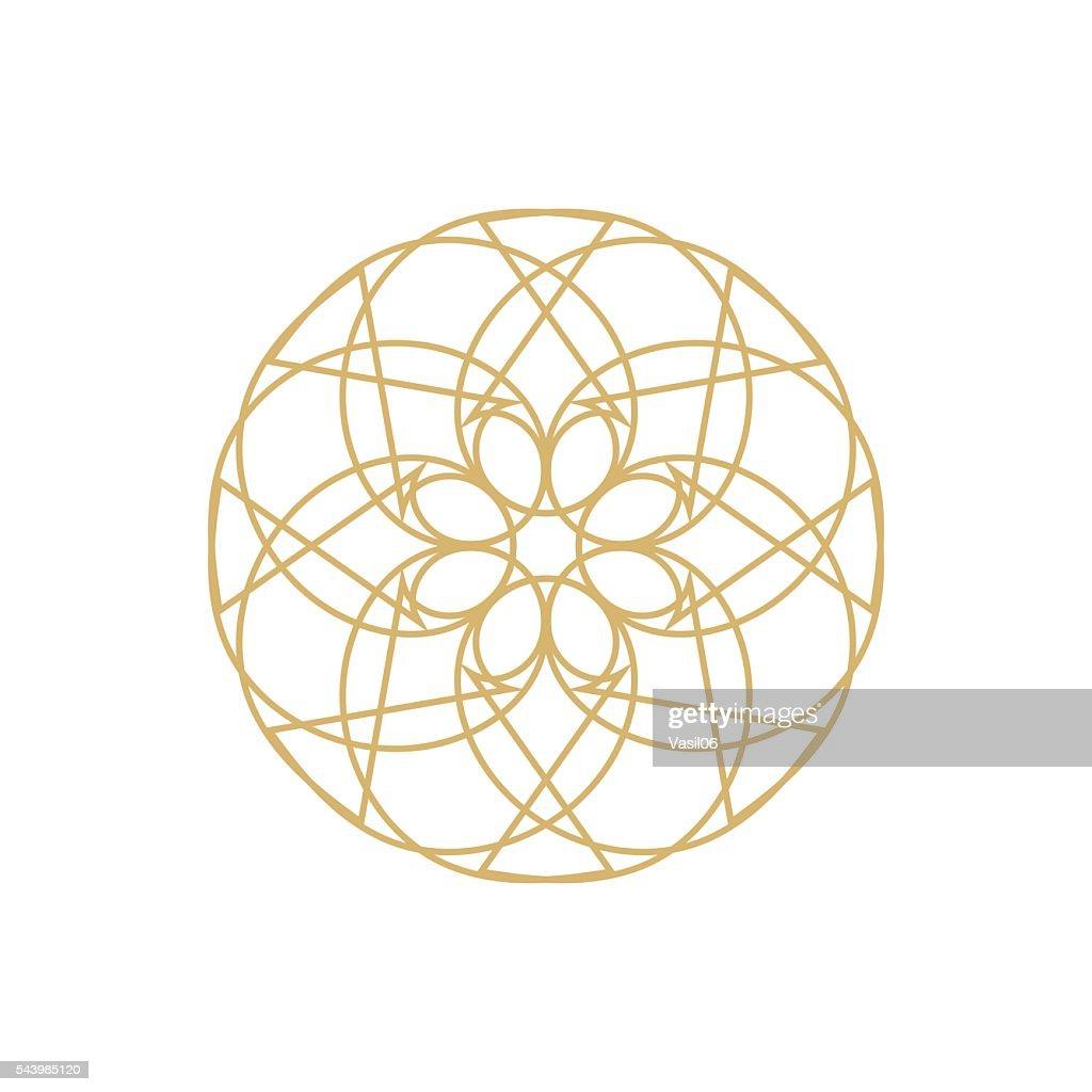 Gold mandala or geometrical element for decoration