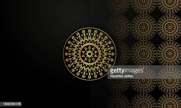 stockillustraties, clipart, cartoons en iconen met gouden mandala voorraadillustratie - oost