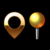 Gold Mapping Pins Set. Metal round shape with color reflection