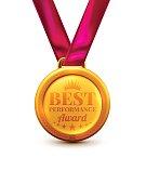 Gold Medal Best Preformance Award.Vector illustration of Winner or Award concept.