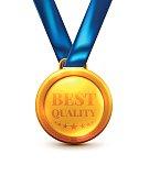 Gold Medal Best Quality Award isolate on white background.Vector illustration of Winner or Award concept.