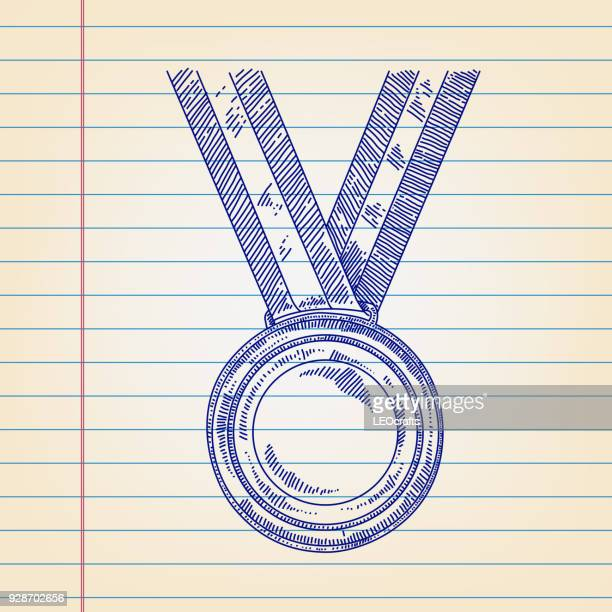 Gold medal Drawing on Lined paper