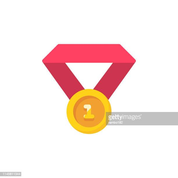 gold medal flat icon. pixel perfect. for mobile and web. - applauding stock illustrations, clip art, cartoons, & icons