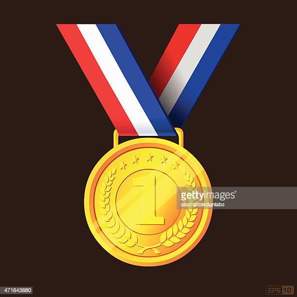 goldmedaille oder ersten preises - erster platz stock-grafiken, -clipart, -cartoons und -symbole