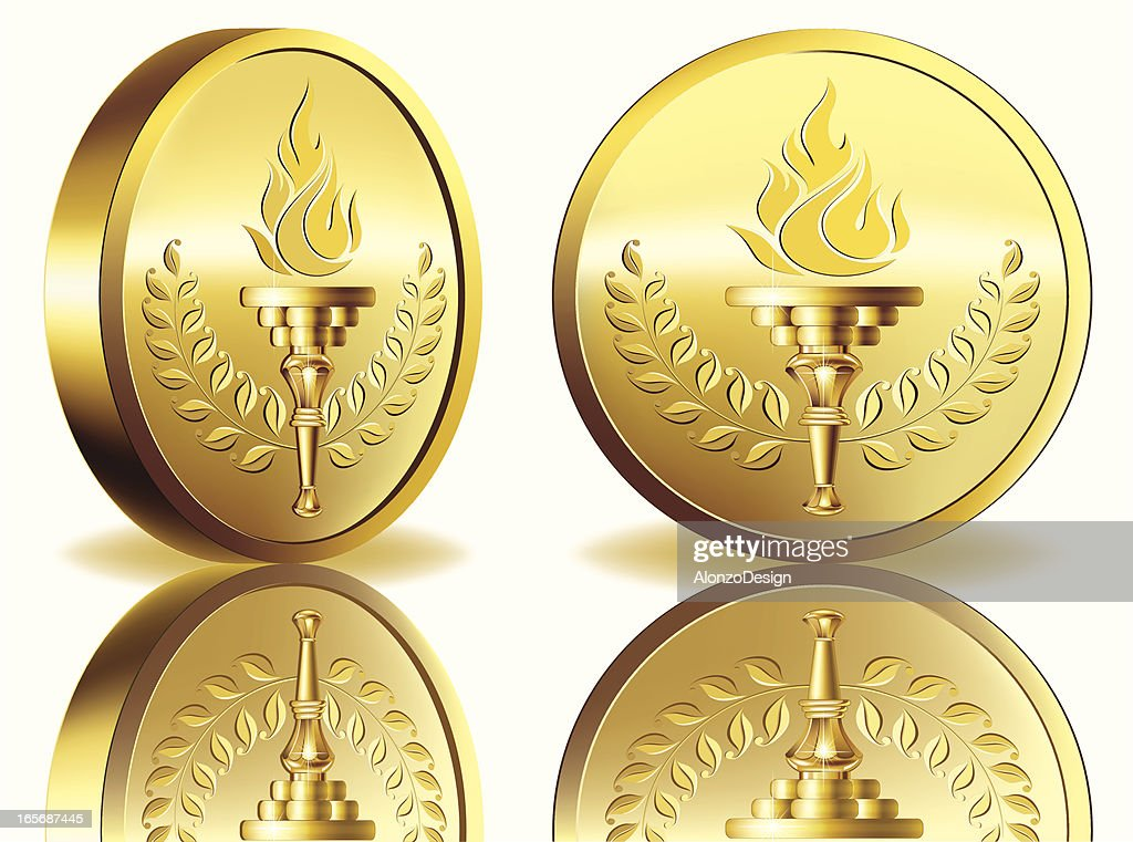 Gold medal with flaming torch : stock illustration