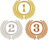 Gold medals, silver medals, bronze medals