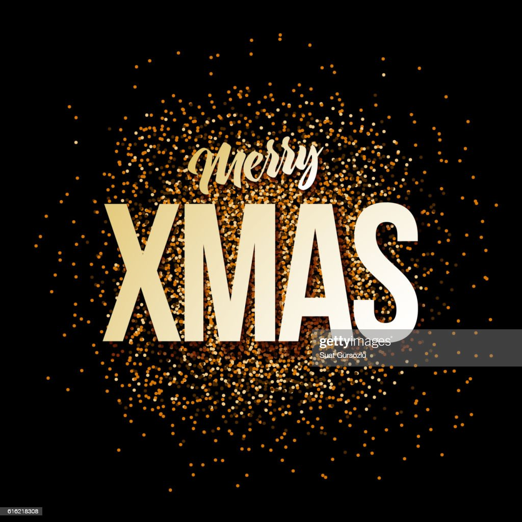 Gold Merry Xmas Card : Clipart vectoriel
