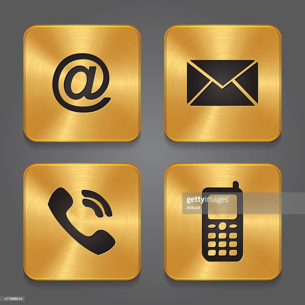 Gold Metal Contact Icons Email Envelope Phone Mobile Stock
