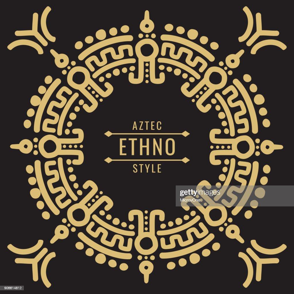 Gold mexican tribal frame design - ethno atzec
