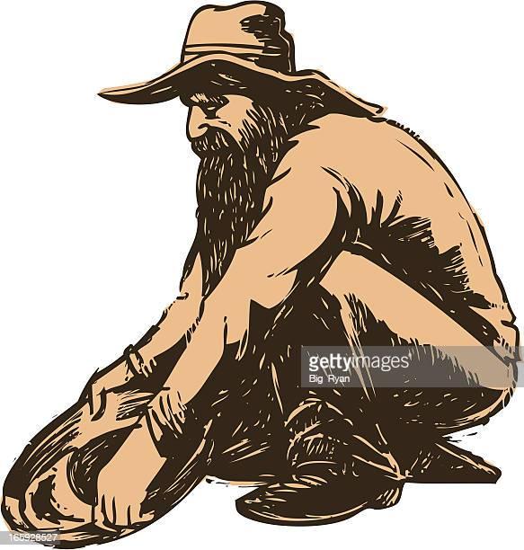 gold miner - gold rush stock illustrations