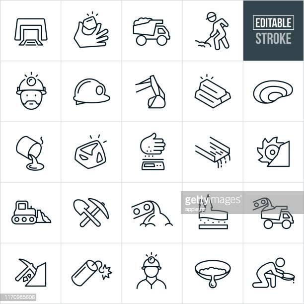 bildbanksillustrationer, clip art samt tecknat material och ikoner med guldbrytning tunna linje ikoner-redigerbar stroke - gruvindustri