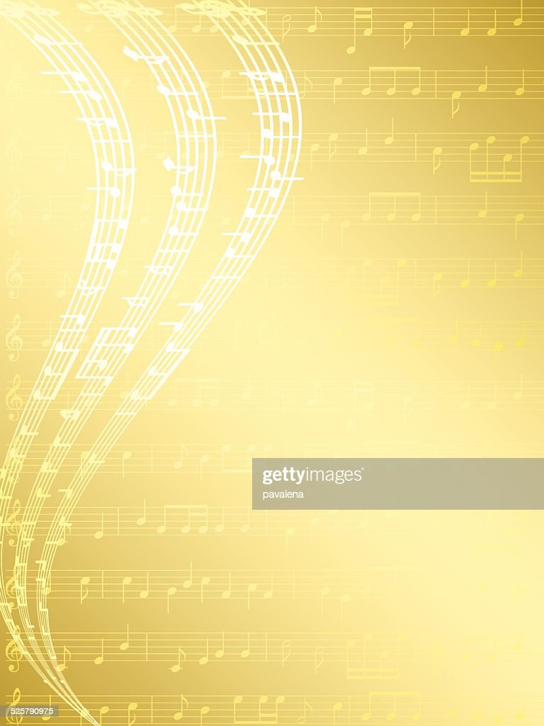 gold musical background with notes - vector