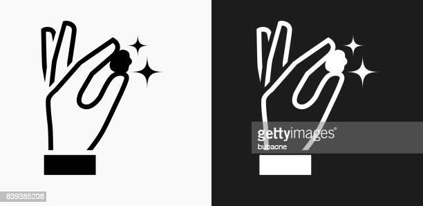 Gold Nugget Icon on Black and White Vector Backgrounds