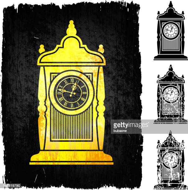 Gold old-fashioned clock on black royalty free vector Background