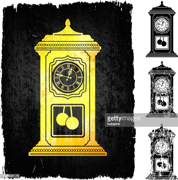 Gold old-fashioned grandmother clock on black royalty free vector Background
