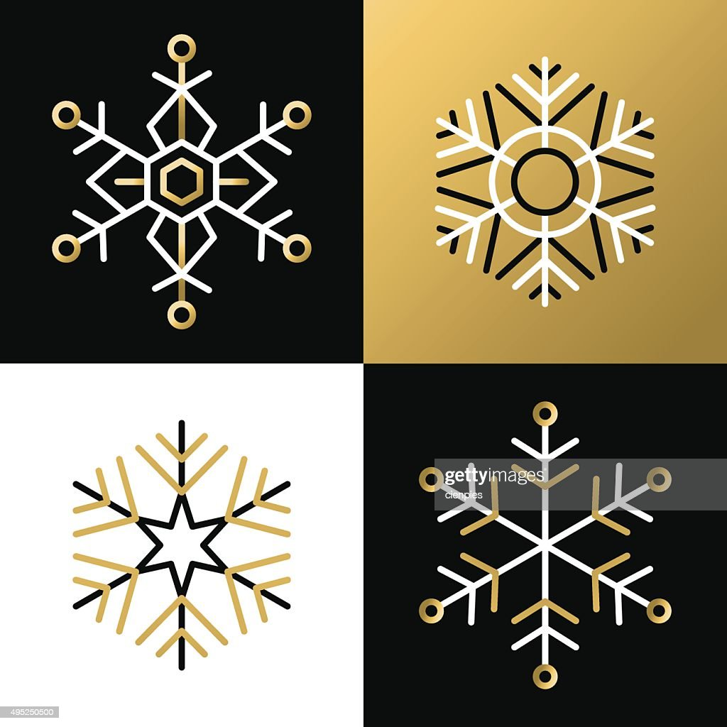 Gold outline line snowflake set icon christmas