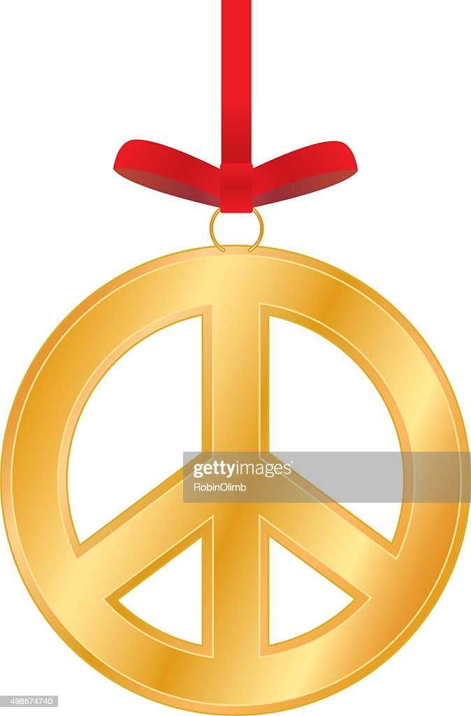 Peace Christmas Sign.Gold Peace Sign Christmas Ornament Stock Vector Getty Images