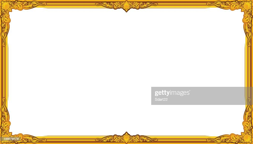 gold photo frame floral for picture, vector , thai frame style