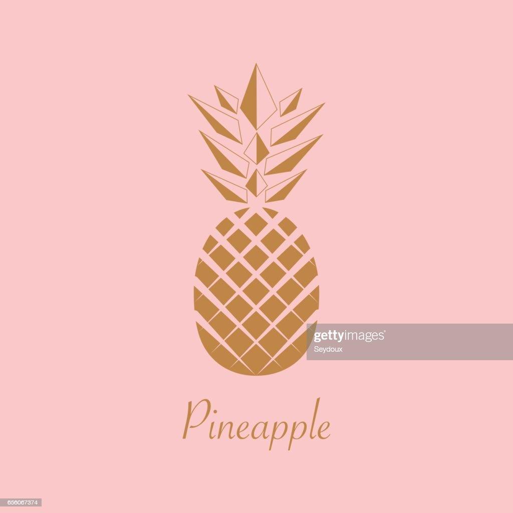 Gold Pineapple fruit. Vector illustration.