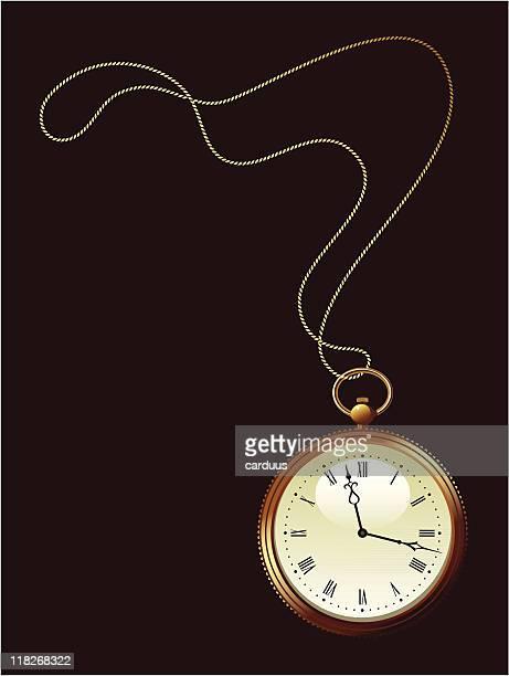 ilustraciones, imágenes clip art, dibujos animados e iconos de stock de oro reloj de bolsillo - reloj de bolsillo