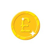 Gold pound coin cartoon style isolated