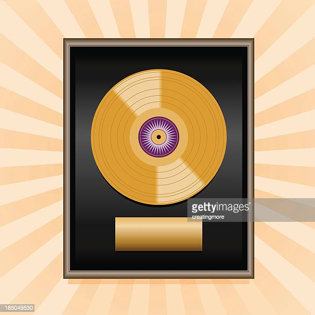 gold record plaque - award plaque stock illustrations, clip art, cartoons, & icons