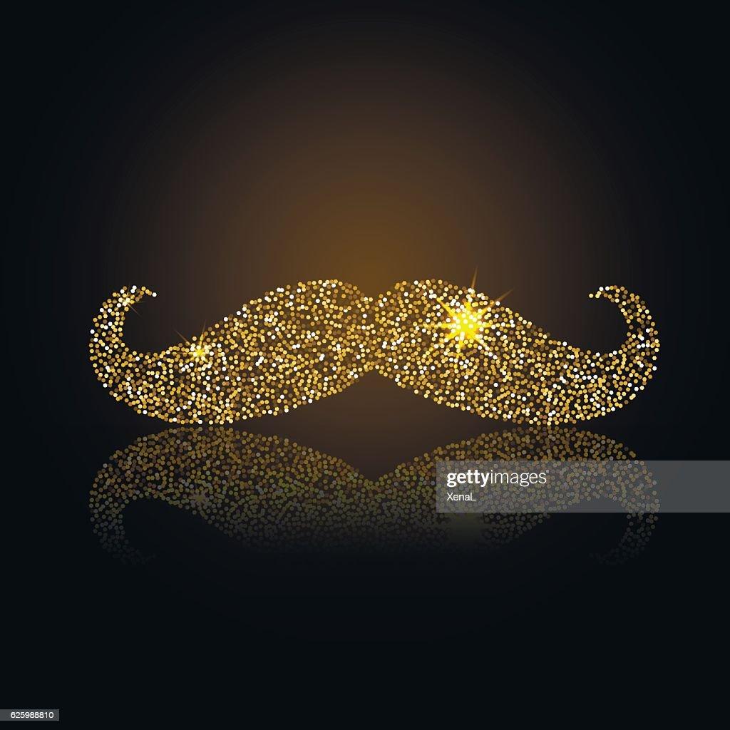 Gold retro mustache vector icon