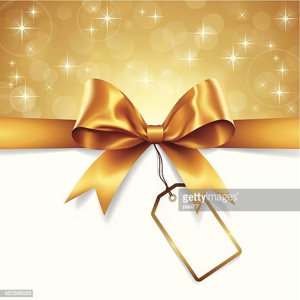 ゴールドリボンにタグ - 結び目点のイラスト素材/クリップアート素材/マンガ素材/アイコン素材