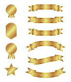 Gold ribbons and badges