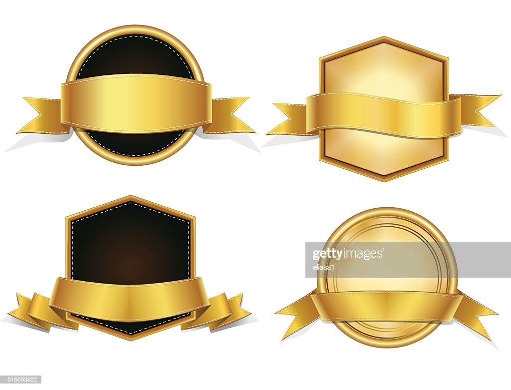 Gold Ribbons  Badges , Banners Set